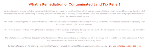 What is Remediation of Contaminated Land Tax Relief?