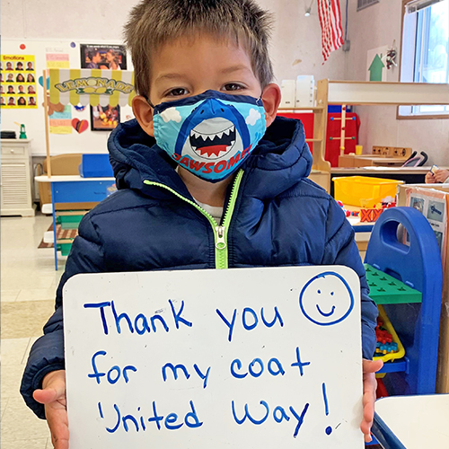 A student from Keansburg Preschool received a new coat from UWMOC's Warmest Wishes Coat Drive