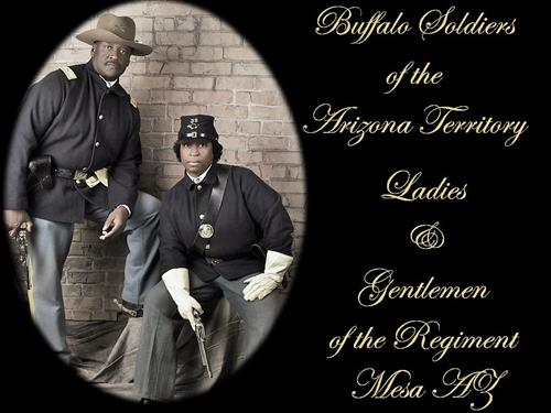 Cmdr. Fred Marable and Deputy Cmdr. Michelle London-Marable, founders of the Official Arizona Centennial Legacy Buffalo Soldiers of the Arizona Territory - Ladies and Gentlemen of the Regiment, Mesa, AZ