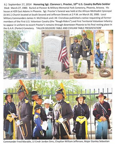 Historical Buffalo Soldiers of the Arizona Territory's Dedication and Memorial Service - Sergeant Clarence L. Proctor, U.S. Cavalry, buried at Pioneer & Military Park Cemetery near the Arizona State Capitol