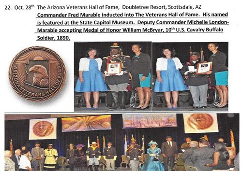 On October 28, 2016, Cmdr. Fred Marable, Army/Vietnam - Buffalo Soldier of the Arizona Territory inducted into The Arizona Veterans Hall of Fame