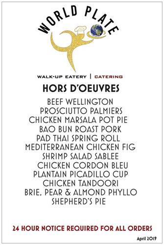 Hors d'oeuvres Menu (24 hour pre-order)
