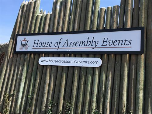 House of Assembly Events street sign