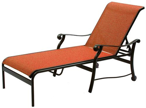 Sling Chaise Sun Lounger with Wheels
