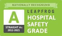 """18 Consecutive Leapfrog """"A"""" grades for patient safety, The Leapfrog Group, Spring 2021"""