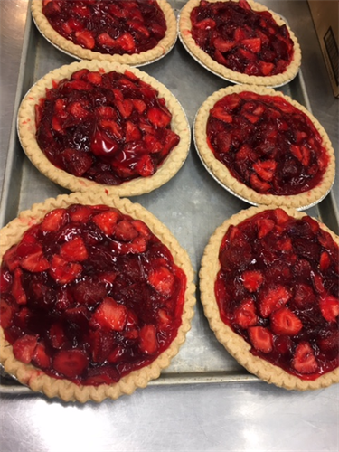 Fresh local Portland Strawberry Pies during strawberry season