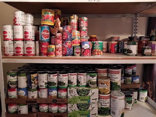 We try to keep the food pantry well stocked