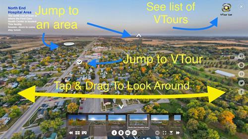 Help screen for Nisswa Chamber Members Virtual Tour