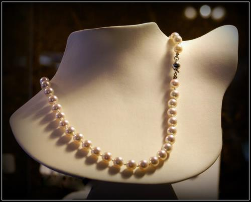 A gorgeous strand of Akoya Pearls, hand-knotted by Stacey