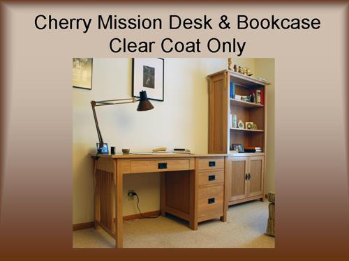 Cherry Mission Desk and Bookcase - Clear coat Finish
