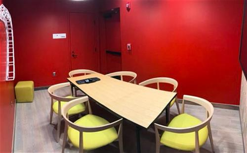 Our community room can be reserved through liquidspace.com for local school groups and non-profits.