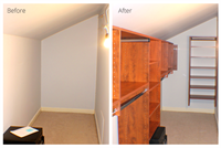 Closet with slanted ceiling before and after