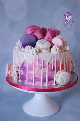 Macarons and White Chocolate Drip Cake