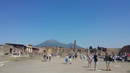 Mount Vesuvius from the ruins of Pompeii.