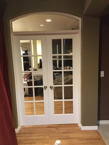 Custom French Door installation with a custom Transom to match