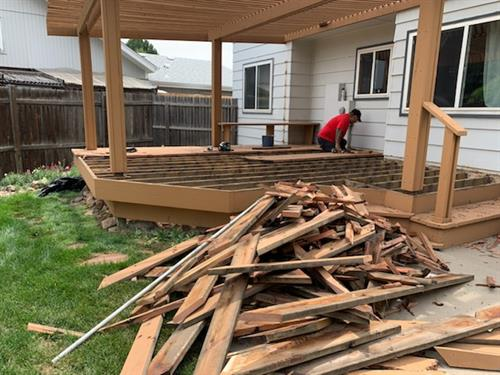 Day one of deck and pergola removal