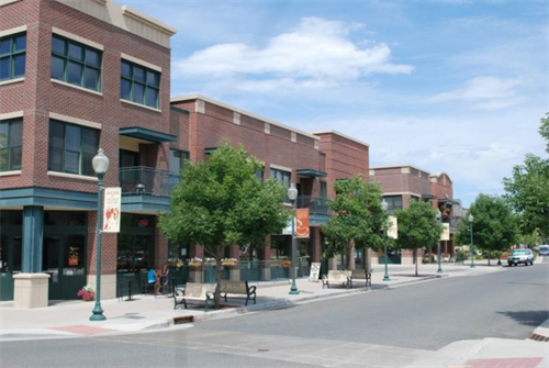 Two of the mixed use buildings at The Square at Five Parks