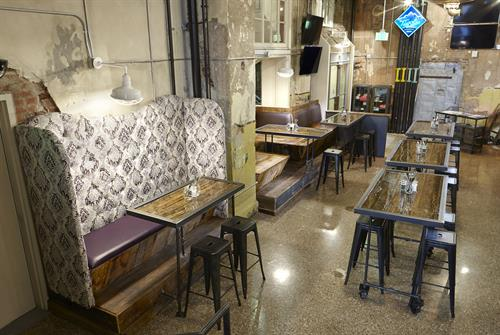 We created all the booths, tables and bar for Tivoli Brewery