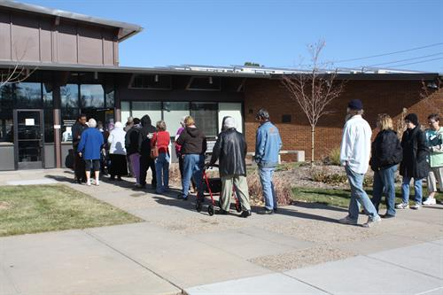 Line Outside our Main Facility