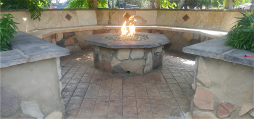 Gas Fire Pit with Stamped Concrete