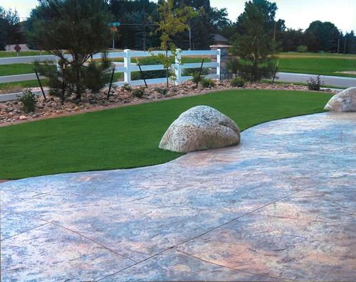 Stamped Patio with Boulders