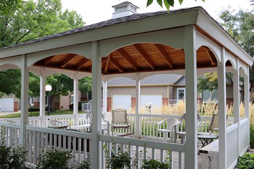The gazebo in our west cottage neighborhood.  The site of concerts, happy hours and community connection.