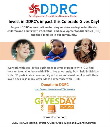 Thank you for supporting DDRC: https://www.coloradogives.org/DDRC/overview