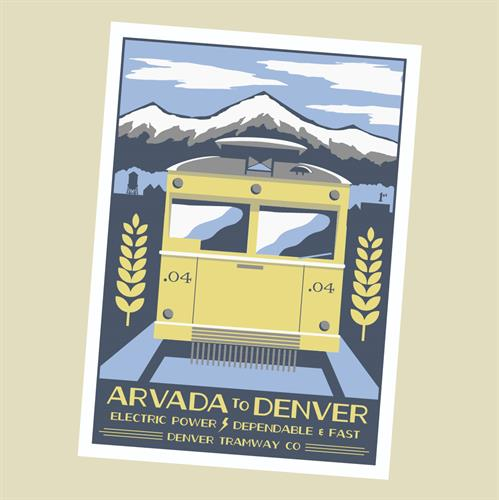 Part of a screen printed poster series I did on transportation in Arvada's history