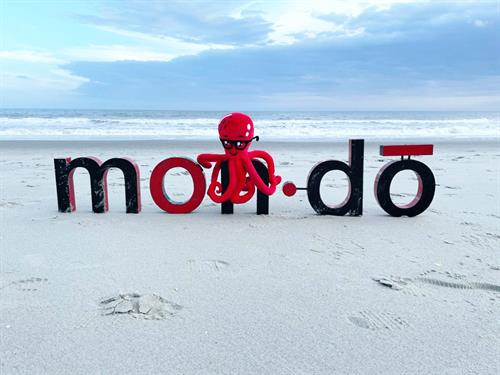 Mondo Letters - Metal & Mondo mascot named Ozzie