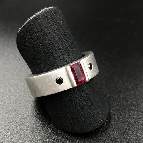 White gold, ruby, and black diamond ring