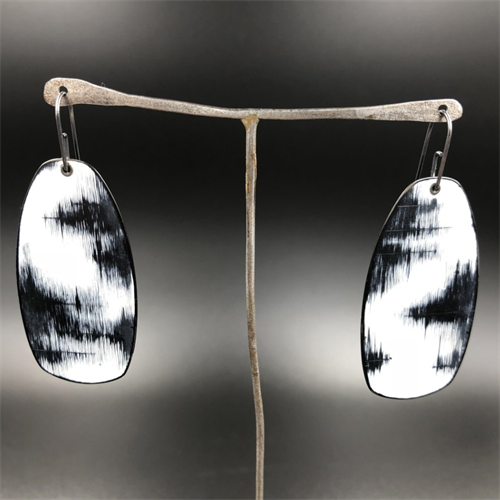 Enamel and Steel Earrings