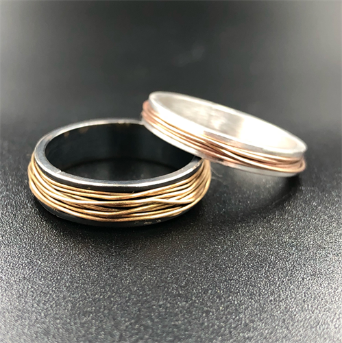 Gold, rose gold, and sterling bands