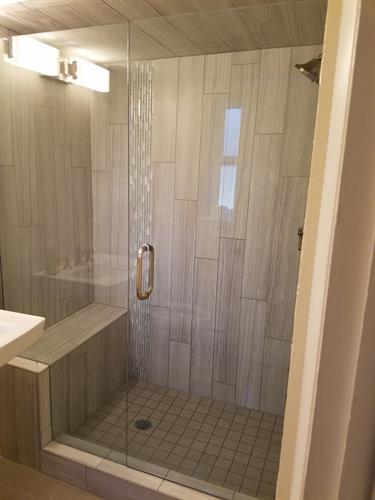 Shower Tile and Frameless Door