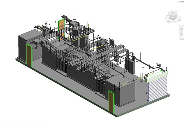 Revit model of a mechanical room.