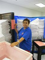 Maria building orders to go out to customer hospitals.