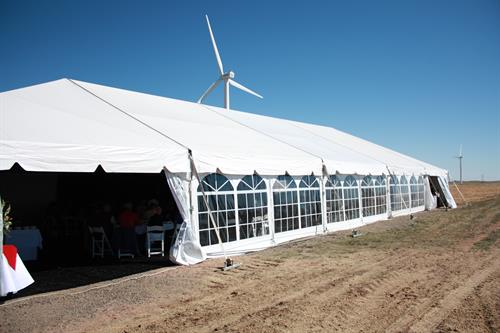 White frame tent with window walls