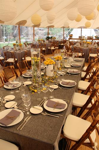 Charcoal majestic tablecloth, dinnerware, floral centerpieces and decor.