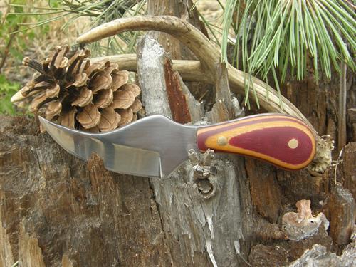 Hunter Skinner, 1095 High Carbon Steel, Red & Yellow Handmade Micarta Handle