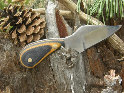 Clip Point Skinner, 1095 High Carbon Steel, Black & Yellow Handmade Micarta Handle