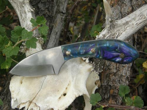 Drop Point Skinner,1095 High Carbon Steel, Multi-Color Acrylic Handle