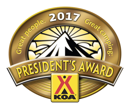 We are a KOA Presidents Award winner