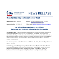 SBA Offers Disaster Assistance to California Businesses and Residents Affected by the Kincade Fire