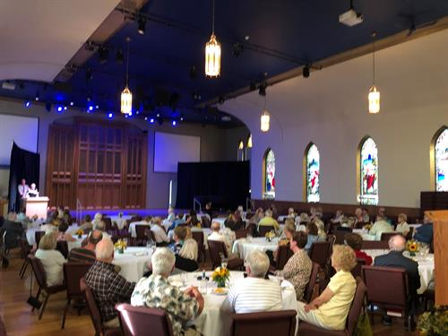 Our Great Hall can be set up for shows, concerts, or gala dinners as show here.
