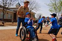 Game of tag at Cub Scout day camp