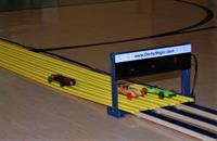 roaring to the finish at the District Pinewood Derby
