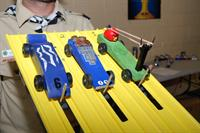 Cars lined ready to race at Cochise District Pinewood Derby
