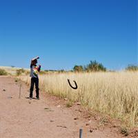 pitching horseshoes at camporee