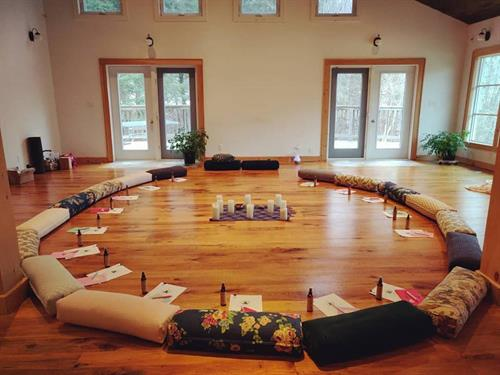 The Creekside Room set up for restorative yoga