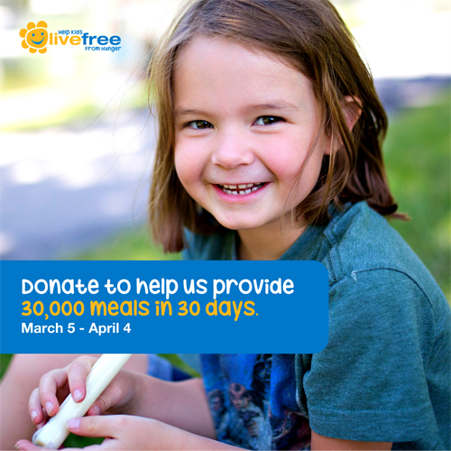 Help us provide 30,000 meals by April 4th! Visit www.livefreecampaign.ca to learn more.