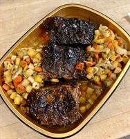 Beef Shorts in Red Wine over Local Root Vegetables